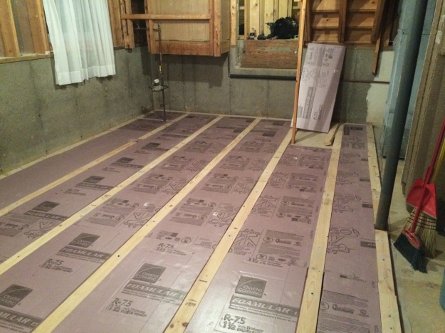 2x4s and foam insulation underneath supporting the subfloor.