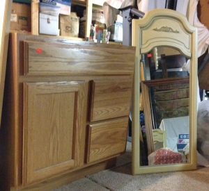 I have two of each of these. One vanity will be re-worked by Rick so the drawers and door are opposite when the vanities are placed side-by-side to allow for two sinks with each having its own mirror.